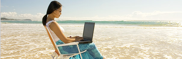 emailing from the beach